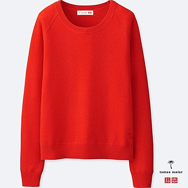 WOMEN CASHMERE CREWNECK SWEATER, RED, medium