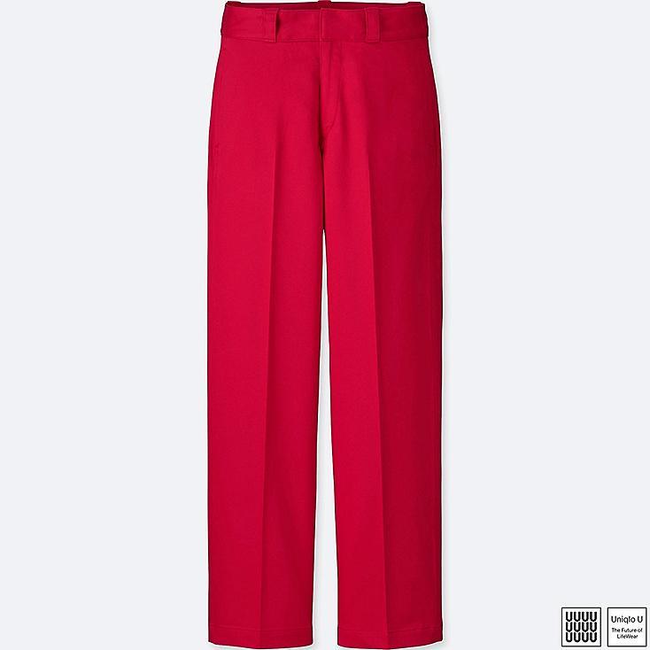 WOMEN U COTTON STRAIGHT PANTS, RED, large