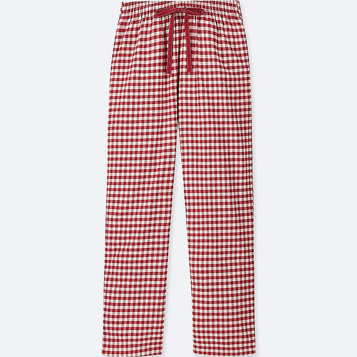 WOMEN GINGHAM CHECKED FLANNEL PANTS, RED, large