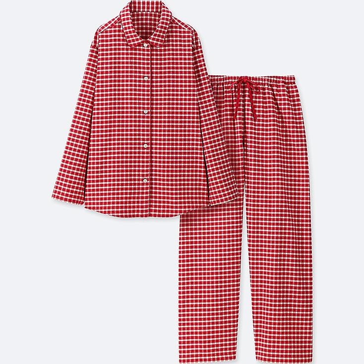 WOMEN FLANNEL LONG-SLEEVE PAJAMAS, RED, large