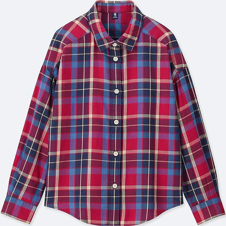 GIRLS FLANNEL CHECKED LONG-SLEEVE SHIRT, RED, large