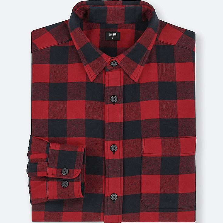 MEN FLANNEL CHECKED LONG-SLEEVE SHIRT, RED, large
