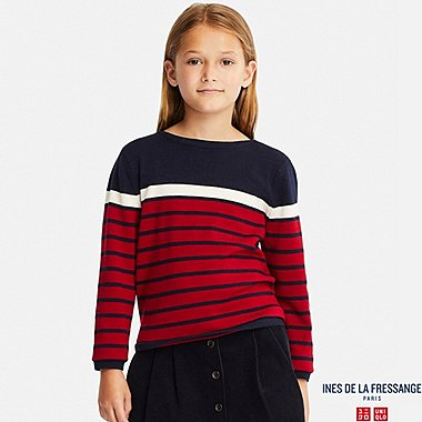 KIDS EXTRA FINE MERINO LINE LONG-SLEEVE STRIPED SWEATER (INES DE LA FRESSANGE), RED, medium