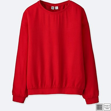 WOMEN U DRAPEY TWILL LONG-SLEEVE BLOUSE, RED, medium