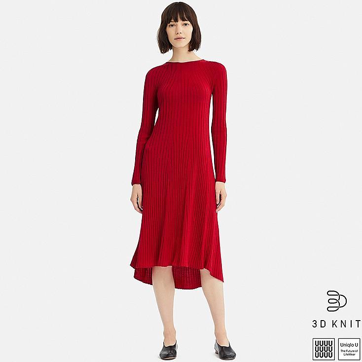 WOMEN U 3D EXTRA FINE MERINO CREW NECK FLARE LONG-SLEEVE DRESS, RED, large