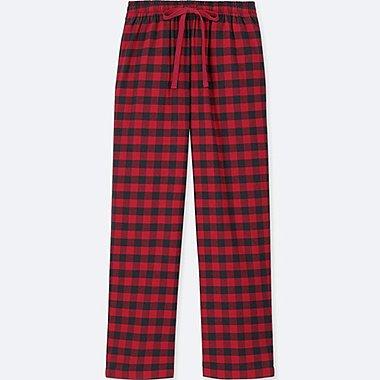 WOMEN PLAID FLANNEL PANTS, RED, medium