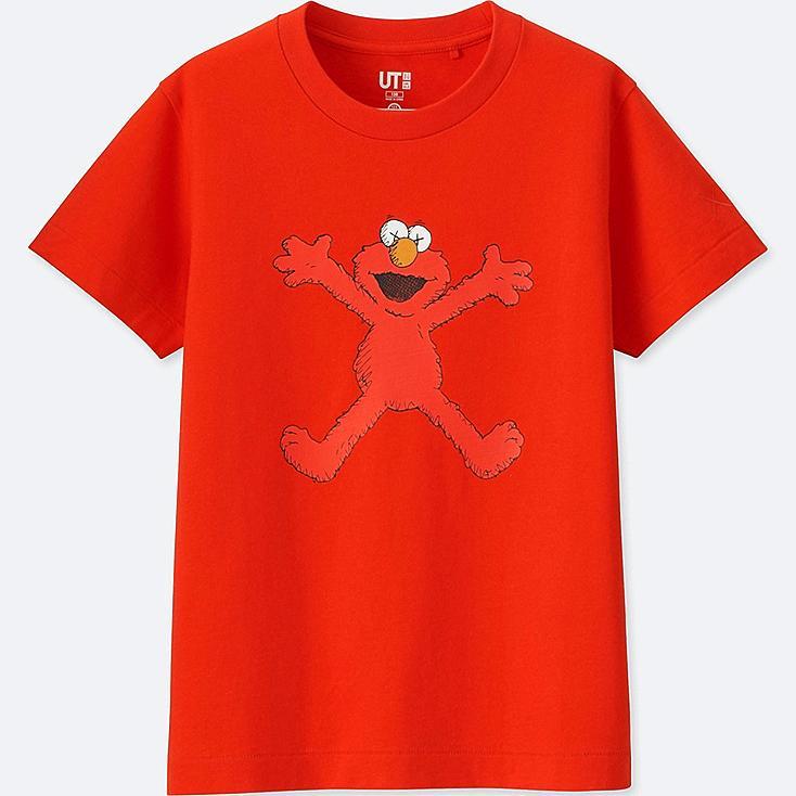 KIDS KAWS X SESAME STREET GRAPHIC T-SHIRT, RED, large
