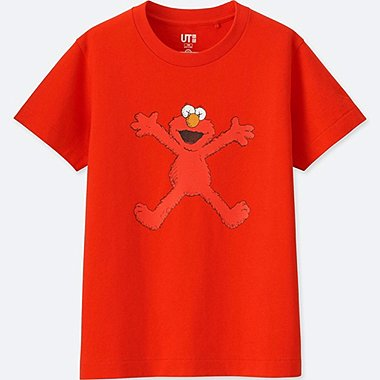 KIDS KAWS X SESAME STREET GRAPHIC T-SHIRT, RED, medium
