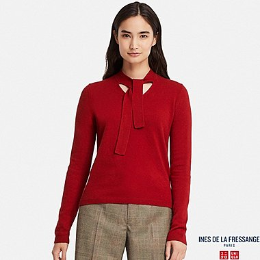 WOMEN CASHMERE RIBBON-TIE SWEATER (INES DE LA FRESSANGE), RED, medium