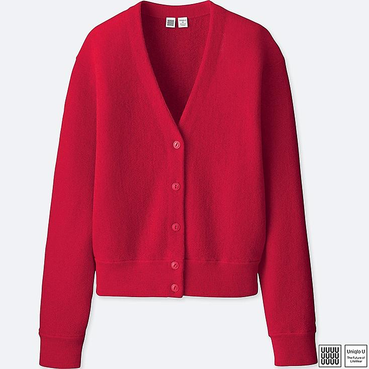WOMEN U WOOL V-NECK CARDIGAN, RED, large