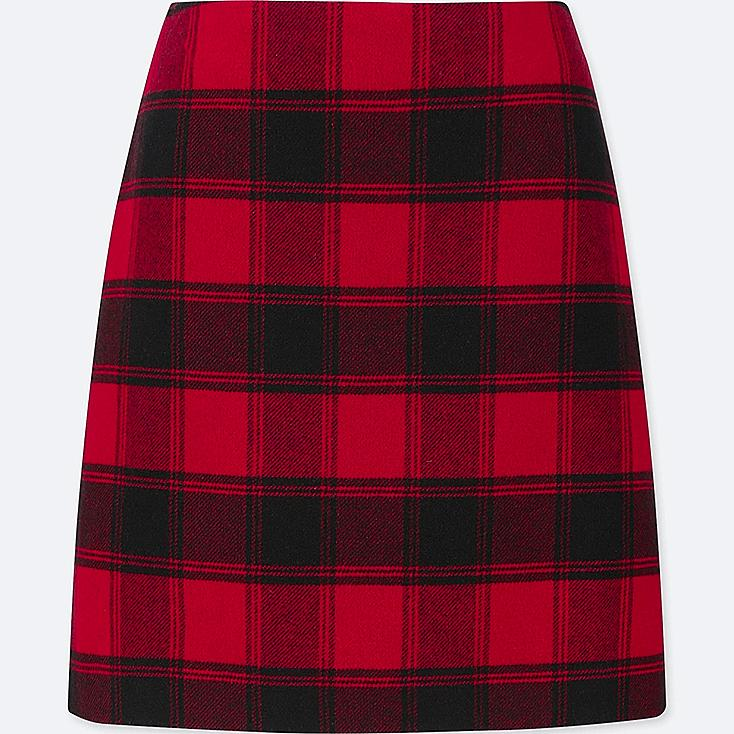 WOMEN WOOL-BLEND HIGH-WAISTED MINI SKIRT, RED, large