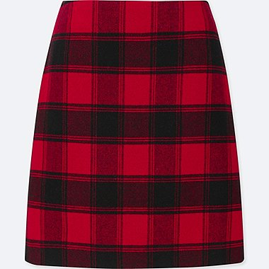 WOMEN WOOL-BLEND HIGH-WAISTED MINI SKIRT, RED, medium