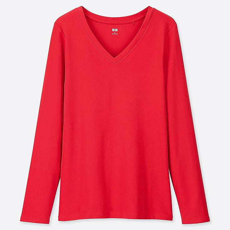 WOMEN 1*1 RIBBED COTTON V-NECK LONG-SLEEVE T-SHIRT, RED, large