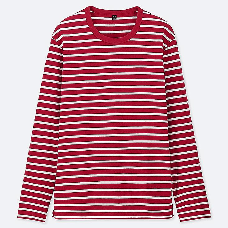 MEN WASHED STRIPED LONG-SLEEVE T-SHIRT, RED, large