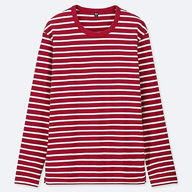 MEN WASHED STRIPED LONG-SLEEVE T-SHIRT, RED, medium