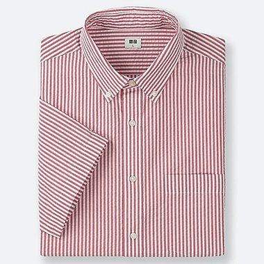 MEN DRY SEERSUCKER STRIPED SHORT-SLEEVE SHIRT, RED, medium