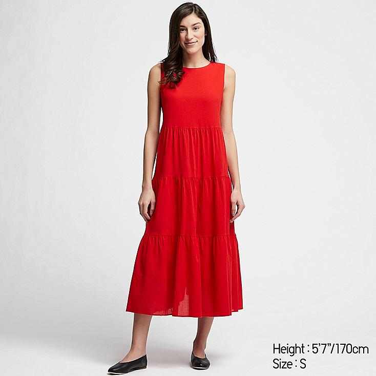 WOMEN COTTON LONG SLEEVELESS DRESS, RED, large