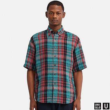MEN UNIQLO U PREMIUM LINEN WIDE FIT CHECKED SHORT SLEEVED SHIRT (BUTTON-DOWN COLLAR)
