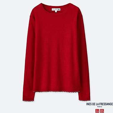 WOMEN PREMIUM LINEN BOAT NECK SWEATER (INES DE LA FRESSANGE), RED, medium