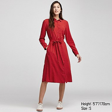 WOMEN RAYON DOTTED PRINT LONG SLEEVED DRESS
