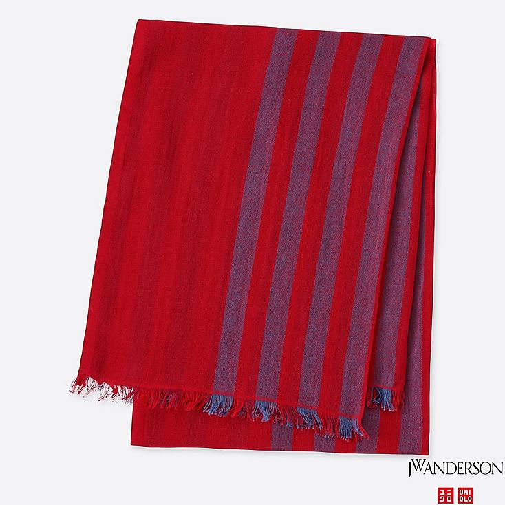 COTTON LINEN STOLE (JW Anderson), RED, large