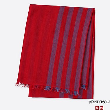 COTTON LINEN STOLE (JW Anderson), RED, medium