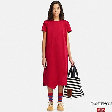WOMEN ASYMMETRIC HEM SHORT-SLEEVE DRESS (JW Anderson), RED, medium