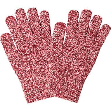 HEATTECH KNITTED GLOVES, RED, medium