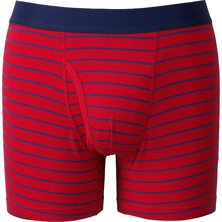Men Supima® Cotton Striped Boxer Briefs, RED, large