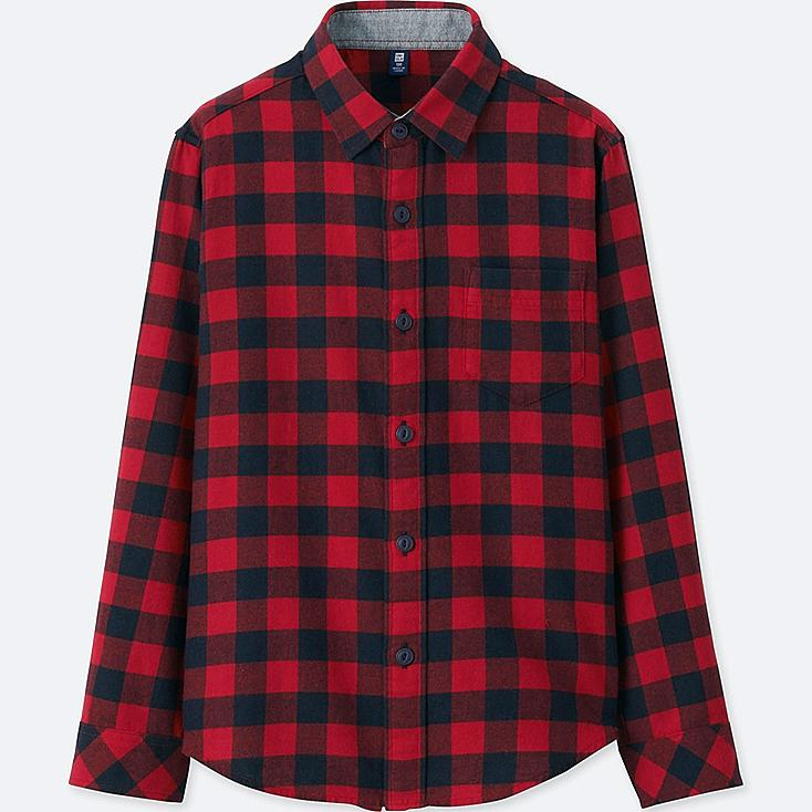 BOYS FLANNEL CHECK LONG SLEEVE SHIRT, RED, large