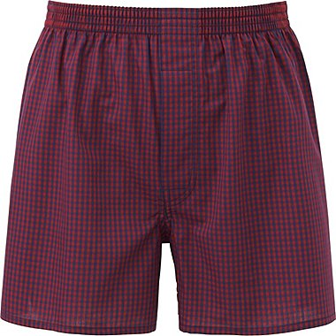 MEN WOVEN CHECKED TRUNKS, RED, medium