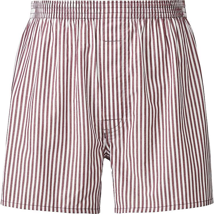 MEN WOVEN STRIPED TRUNKS, RED, large