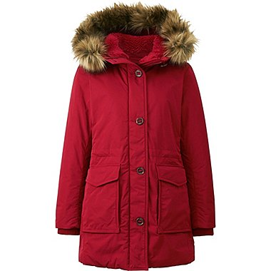 WOMEN WARM TECH DOWN MILITARY COAT, RED, medium