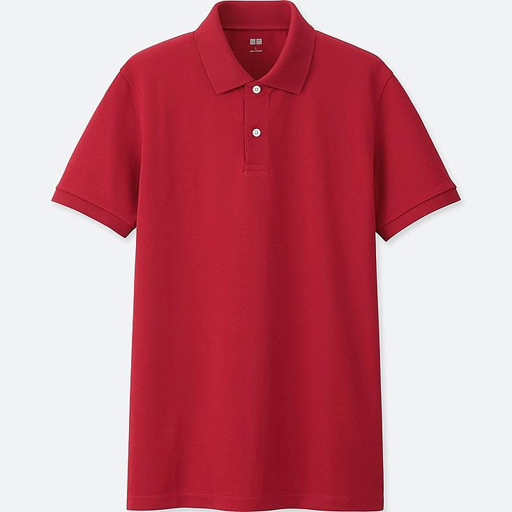 MEN DRY PIQUE SHORT SLEEVE POLO SHIRT, RED, large