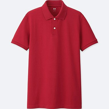 MEN DRY PIQUE SHORT SLEEVE POLO SHIRT, RED, medium