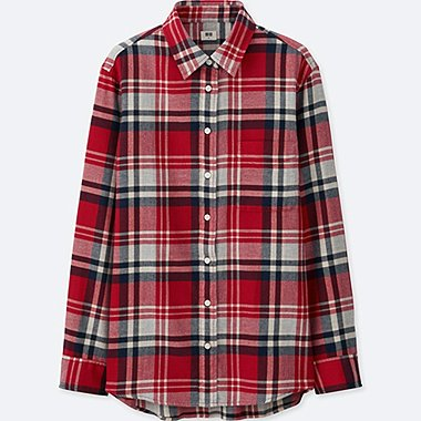 WOMEN FLANNEL CHECK LONG SLEEVE SHIRT, RED, medium
