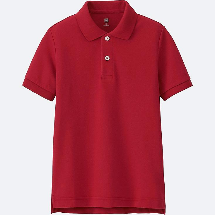 BOYS DRY PIQUE SHORT-SLEEVE POLO SHIRT, RED, large
