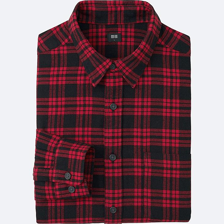 MEN FLANNEL CHECKED LONG SLEEVE SHIRT, RED, large