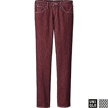 MEN U REGULAR FIT COLOR JEANS, RED, medium