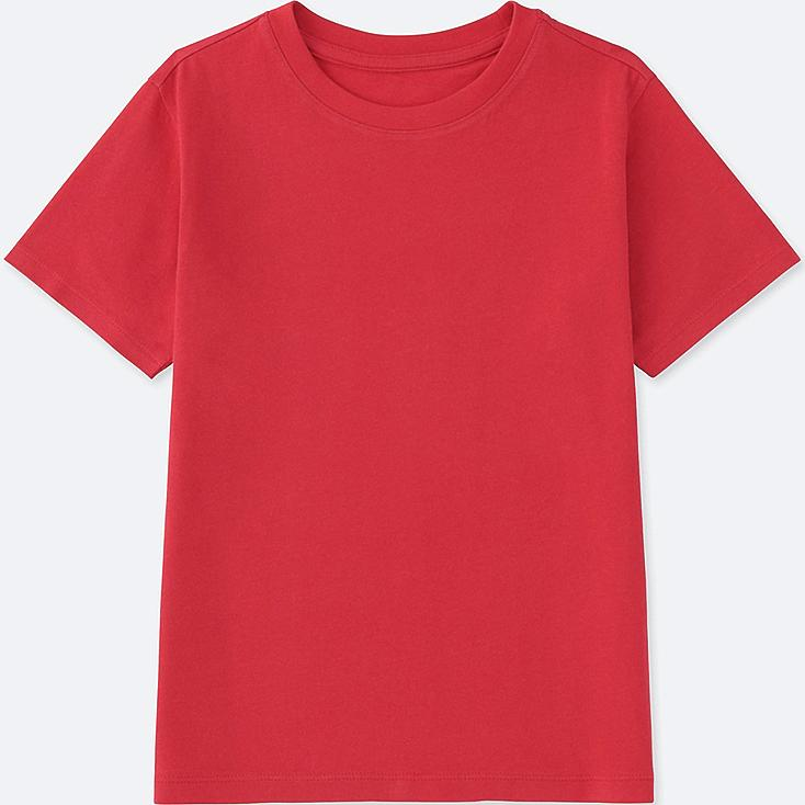 KIDS PACKAGED COLOR CREW NECK SHORT SLEEVE T-SHIRT, RED, large