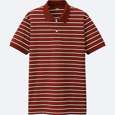 MEN Dry Pique Striped Short Sleeve Polo Shirt