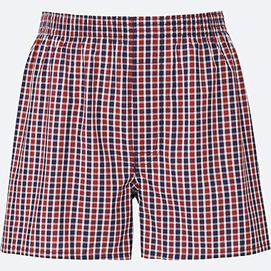 MEN WOVEN CHECKED BOXERS, RED, medium