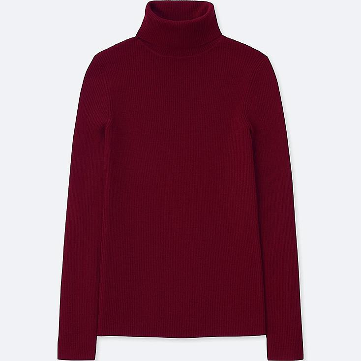 WOMEN EXTRA FINE MERINO RIBBED TURTLENECK SWEATER, RED, large