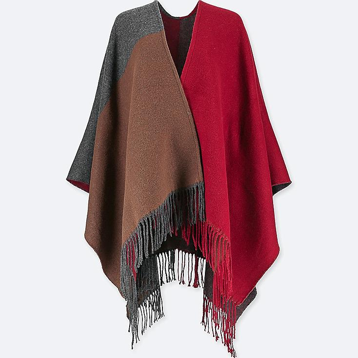 WOMEN COLORBLOCK 2-WAY STOLE, RED, large