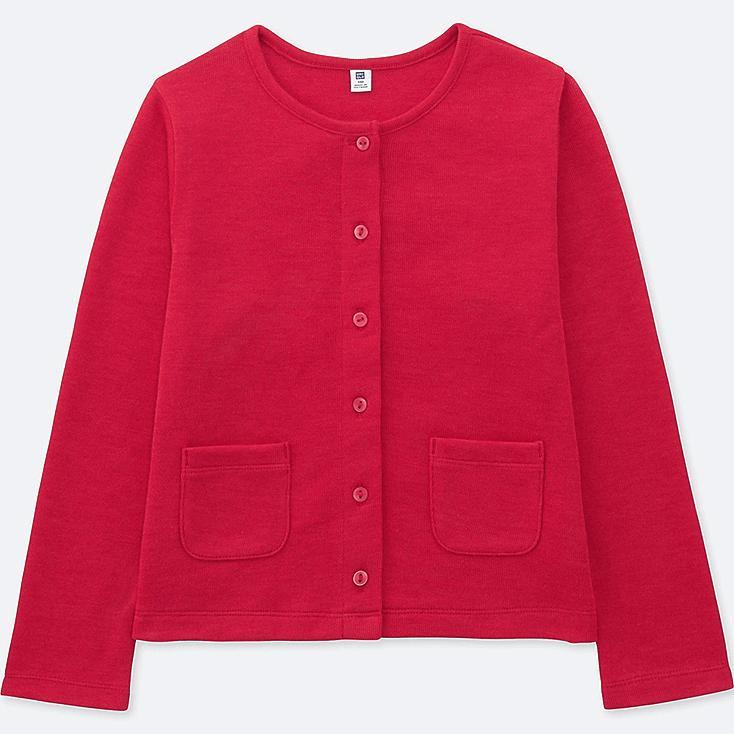 GIRLS JERSEY CREW NECK CARDIGAN, RED, large