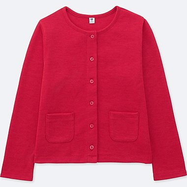 GIRLS JERSEY CREW NECK CARDIGAN, RED, medium
