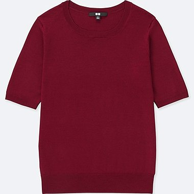 WOMEN EXTRA FINE MERINO HALF SLEEVE SWEATER, RED, medium