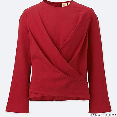 WOMEN CACHE COEUR LONG-SLEEVE BLOUSE, RED, medium