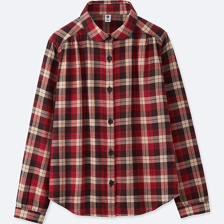 GIRLS FLANNEL LONG-SLEEVE SHIRT, RED, large