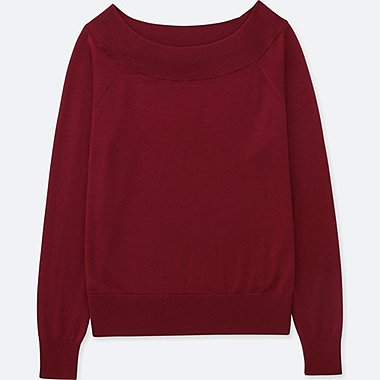 WOMEN EXTRA FINE MERINO BOAT NECK SWEATER, RED, medium
